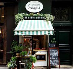 Awnings on design*sponge les guinguettes, sandwich shops, french cafe, coff Kiosk Design, Cafe Design, Store Design, Creperia Ideas, Shop Ideas, Mini Cafe, Espace Design, Tiny Shop, Sandwich Shops