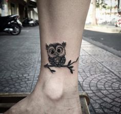 Baby Owl Ankle Tattoo