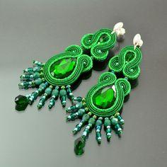 Long Emerald Soutache Earrings - Long Unique Green Glossy Earrings - Unique Sparkling Earrings  Orecchini Soutache - New Year's Eve Earrings by OzdobyZiemi on Etsy