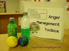 anger management toolbox - too funny, I just started thinking about creating one of these, including clay, music, a book, beads to string, etc....