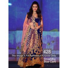 Shraddha Blue Craft Chiku And Blue Bollywood Replica Lehenga by Vendorvilla