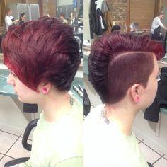 Girl shaved red FoHawk