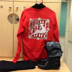 2015-12-11. Red Christmas tee from Cali Joe's w/scene on back. Black turtleneck. Black slim leg pants from Stitch Fix. Black leather boots.