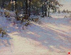 Shadows Galore by Barbara Jaenicke Pastel ~ 11 x 14 Beautiful Landscape Paintings, Pastel Landscape, Winter Landscape, Watercolor Landscape, Landscape Art, Watercolor Art, Painting Snow, Winter Painting, Monet