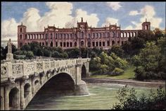 Isar, Maximiliansbrücke and Maximilianeum (Postcard around 1900)