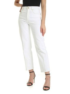 Versace Jeans Couture Golden LamÈ Stitching Jeans In White Gold Lame, Versace Jeans Couture, Colored Jeans, Stretch Jeans, Couture Fashion, World Of Fashion, Stitching, Your Style, Capri Pants
