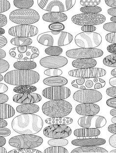 Stacks of tangled ovals - looks like rocks