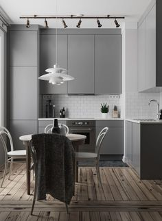 Top Style Tranquil White & Grey Kitchen Ideas To Make Cooking More Fun Grey Kitchen Designs, Kitchen Room Design, Modern Kitchen Design, Living Room Kitchen, Home Decor Kitchen, Interior Design Kitchen, Kitchen Furniture, Kitchen Ideas, Grey Kitchens