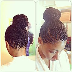 Feeding cornrows, cornrows , braids , braiding, braids into a bun...located in baltimore text/call 443 985 7433