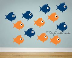 New Design - set of cute fish wall decals 12 Fish - each measures about 4 x 4 inches  Perfect for a daycare, nursery, kids bathroom wall, beach or ocean themed bedroom...can also be applied to doors, mirrors, appliances and many more smooth surfaces...  Choose color by typing choices in note section on invoice ~ or use new pull down menus...limit 2 colors please (eyes will be black & white)  -Fish body has cutouts where surface will show  ABOUT YOUR ORDER: - Application Instructions…