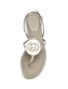 GUCCI Metallic Flat Logo Thong Sandal