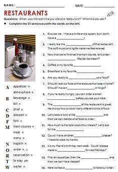 Restaurants - All Things Topics English Tips, English Lessons, English Words, English Grammar, Learn English, English Phrases, English Teaching Materials, Teaching English, Grammar Quiz