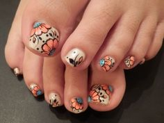 Its Pedi time #cute #floral #nail art
