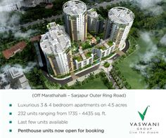 A luxury apartment project built on the ideal that life should be lived with the people you love..  Vaswani Group offers Vaswani Reserve, Duplex Apartments in Sarjapur Road Bangalore,  Reserved for Friends Behind CISCO and Cessna Business Park, Off Marathahalli - Sarjapur Outer Ring Road, Bangalore. READY TO MOVE IN Call 080 - 4911 00 00 or visit http://www.vaswanigroup.com/reserve/