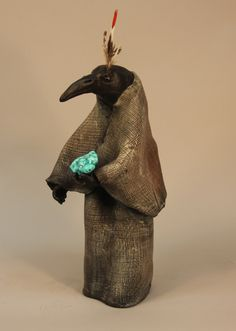 Raven Shaman with Turquoise - Handcrafted Clay Sculpture by Misha Malpica