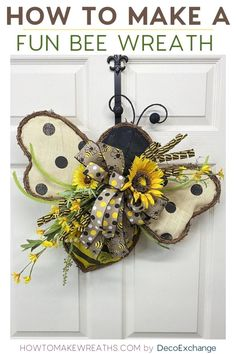 This quick and fun bee wreath with sunflowers does NOT take long to make. You'll… This quick and fun bee wreath with sunflowers does NOT take long to make. You'll see from the video that we put this together in less than 15 minutes! Deco Mesh Wreaths, Holiday Wreaths, Holiday Crafts, Winter Wreaths, Burlap Wreaths, Wreath Crafts, Diy Wreath, Wreath Ideas, Wreath Making