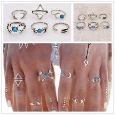 Joyería de la vendimia de plata antigua de color turquesa luna flecha anillo de dedo set de regalo para mujeres de las señoras 1 Unidades = 6 piezas R1544