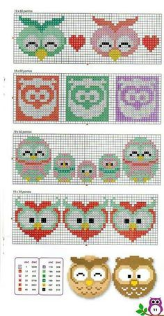 Cute Owls for tapistry or embroidery Cross Stitch Owl, Cross Stitch For Kids, Beaded Cross Stitch, Cross Stitch Borders, Cross Stitch Animals, Cross Stitch Designs, Cross Stitching, Cross Stitch Embroidery, Embroidery Patterns