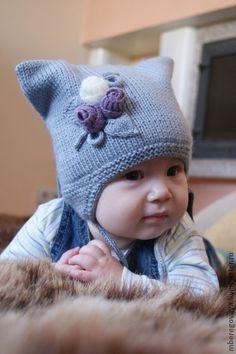 """Шапка для девочки """"Мой котенок"""" - серый,однотонный,теплая шапка,шапка вязаная"""