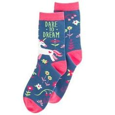 Treat your feet to a bright punch of color with these socks boasting stretch-fitted comfort and individual style. Includes one pair of socksFull graphic text: Dare to dreamOne size fits cotton / nylon / spandexMachine wash; Unicorn Store, Unicorn Stuffed Animal, Floral Socks, Buy Socks, Socks And Heels, Unicorn Gifts, Colorful Socks, Getting Cozy, Cotton Socks
