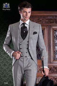 Chaqué de sastrería italiana de elegante corte Slim. Tejido Príncipe de Gales.