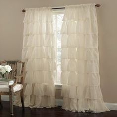 Shabby Chic Bedroom. I love these ruffle curtains. They just look so cozy.