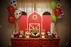 Barnyard birthday party. Farm birthday party. Dessert table