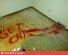 Left a surprise for the next people who redo the carpet. Bahahaha