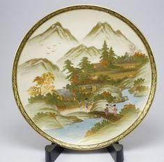 Japanese antique Ceramic Satsuma ware (薩摩焼 satsuma yaki) hand painted plate from 1880s by ScandicDiscovery on Etsy