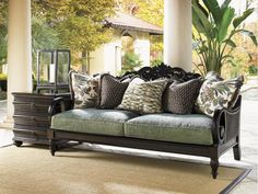 Tommy Bahama Home Royal Kahala Turtle Bay Exposed Wood Sofa Lowes Patio Furniture, Furniture Decor, Outdoor Furniture, Painting Furniture, Wooden Furniture, Luxury Furniture, Interior Exterior, Interior Design, Adams Furniture