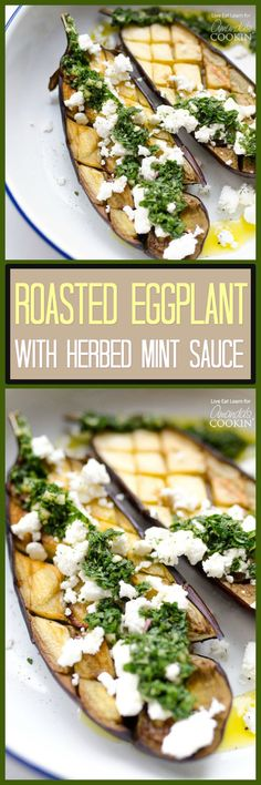 This Roasted Eggplant is an easy side dish that will brighten up your meal. With fresh mint sauce and feta cheese, it's full of flavor (and healthy too!)