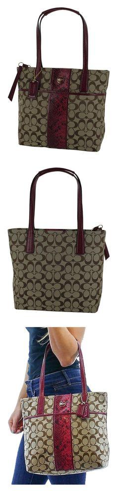 3c86693312dd Coach Signature Python Stripe Tote Brown Khaki Raspberry  Handbags   Amazon.com
