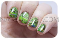 manicura freehand de primavera / colorful garden nail art
