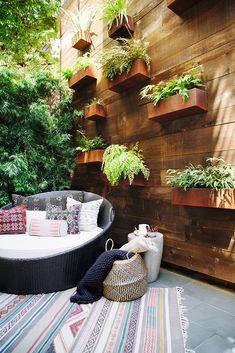 Benni Amadi Design San Francisco Bachelor Pad Home Tour incredible plant wall in the backyard Outdoor Walls, Outdoor Spaces, Outdoor Living, Outdoor Glider, San Francisco, Adirondack Furniture, Outdoor Furniture, Plant Wall, Patio Design