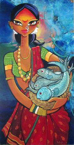 Indian paintings have a very long tradition and history in Indian art. There are more than 20 types of painting styles available in india. The earliest Indian paintings were the rock paintings of… Madhubani Art, Madhubani Painting, Indian Folk Art, Indian Artist, Art And Illustration, Indian Art Paintings, Indian Women Painting, India Art, India India