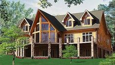 , the Buena Vista has room for many with 5 bedrooms, 4 and baths, 1 and stories and big glass views from the great room! Log Cabin Floor Plans, Log Home Plans, Cabin Plans, House Floor Plans, Log Home Kits, Log Cabin Kits, Log Cabin Homes, Log Cabins, Cabin Ideas