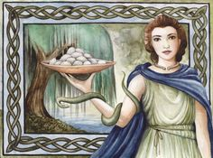 Sirona was a Celtic goddess of healing and fertility, worshipped mostly around the area of Teveri (Triers) and in the Donau area. Her standard attributes include a bucket of eggs (for fertility) and the snake, which stands for healing. Celtic Tree, Irish Celtic, Fertility Symbols, Irish Mythology, Pagan Gods, Celtic Goddess, Gods And Goddesses, Mythical Creatures, Wiccan