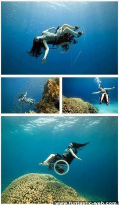 Woman with a physical disability using a wheelchair is having a fun time scuba diving.
