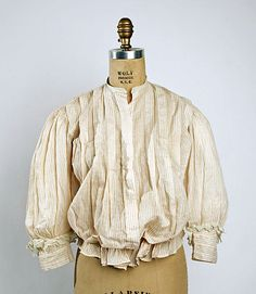 Striped cotton shirtwaist with detachable collar, American, 1899-1902.