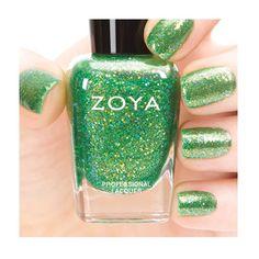 ZOYA - Staasi — citron green with a gold metallic glaze and holographic finish #nail #nails #nailpolish