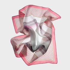 CARRÉ NUAGE ROSE | rue des roses Printed silk square. Made in France.