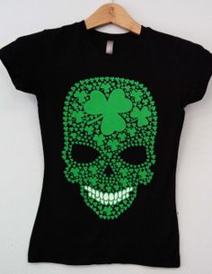 This gruesome tee is rocking clovers just in time for St. Patty's day!  We've taken this cute, fitted ladies tee and blasted several colors with this awesome decal.  Now you can celebrate your heritage or your love of the Irish.   Note: Chocolate NOT available in XS.  These are cut small, so size up if you don't want a fitted shirt.  Extended colors available through custom order.   Only at http://Customtsinc.net