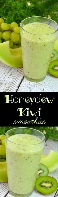 Honeydew Kiwi Smoothie Packed with nutritious fruits. This smooth creamy treat can be enjoyed anytime of day. Perfect for an mid afternoon boost. Honeydew Kiwi Smoothie Packed with nutritious fruits. Honeydew And Cantaloupe, Green Tea Smoothie, Ginger Smoothie, Healthy Fruit Smoothies, Fruit Smoothie Recipes, Healthy Fruits, Healthy Eating, Meal Replacement Smoothies