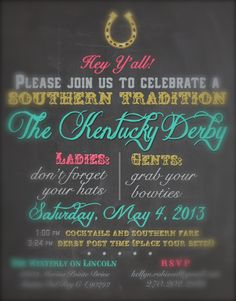 Kentucky Derby Party Invitations Preakness Stakes Belmont Stakes