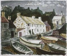 """""""Moelfre, Anglesey""""by Norman Clifford Jaques,1969 (lithograph)"""