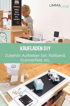 Kaufladen Zubehör. Kaufladen DIY. Kaufladen für Kinder. Kaufladen für  Kleinkinder. IKEA Kaufladen. IKEA DUKTIG Hack. IKEA Hacks für Kinder.  Kinderzimmer Ideen. Kaufladen bauen. Kaufladen selber bauen.  www.limmaland.com #kaufladendiy #kaufladenzubehoer #kaufladenfürkinder  #kaufladenbauen #kinderzimmer #ikeahacks #limmaland Tante Emma Laden, Ikea Duktig, Ikea Hacks, Desk, Cabinet, Storage, Kids, Play, Furniture