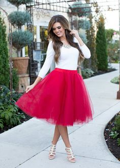 Modest Red Holiday Party Tulle Skirt