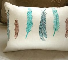 wild bird feathers hand block printed rustic spring home decor decorative linen pillow case Bird Nursery, Woodland Nursery, Nursery Themes, Nursery Ideas, Themed Nursery, Neverland Nursery, Handmade Baby Quilts, Feather Pillows, Spring Home Decor