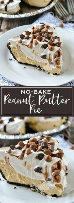 A simple recipe for creamy and delicious No-Bake Peanut Butter Pie. A simple recipe for creamy and delicious No-Bake Peanut Butter Pie. It only takes minutes to make with just a few ingredients. It& simply delicious. Oreo Dessert, Dessert Party, Bon Dessert, Brownie Desserts, Peanut Butter Desserts, Mini Desserts, Chocolate Peanut Butter, Chocolate Ganache, Chocolate Coffee