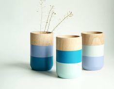 Wooden Vases  Home Decor  Blue  Homeware  Set of 3